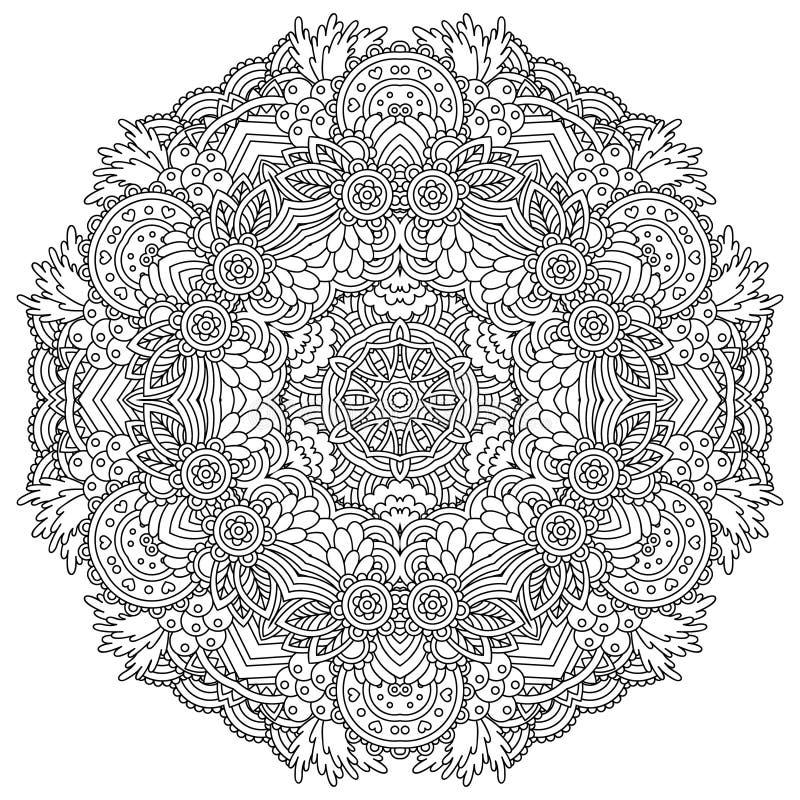 Черно-белая мандала иллюстрация вектора