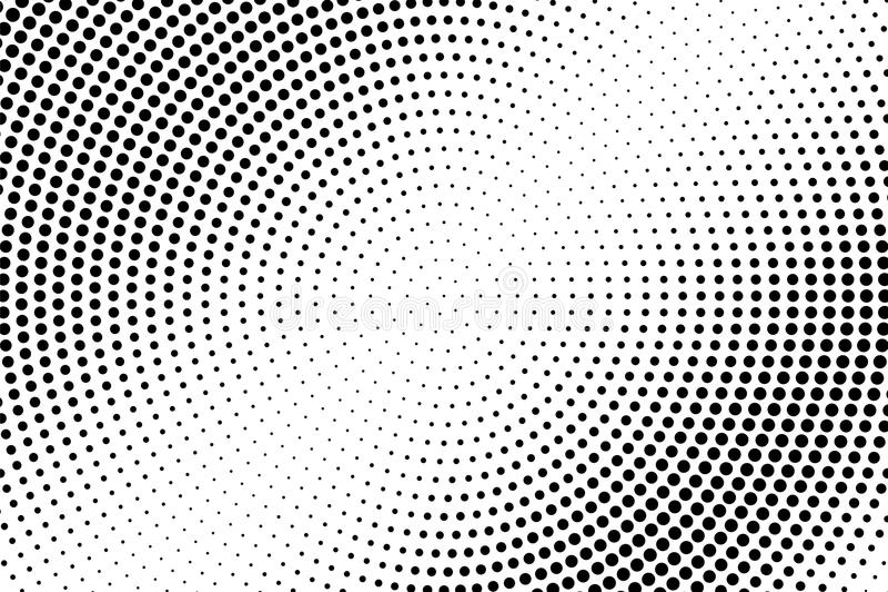 Черно-белая поставленная точки предпосылка полутонового изображения Поставленный точки Radial верхний слой градиента иллюстрация вектора