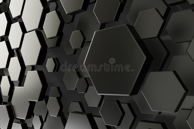 черно-белая предпосылка шестиугольника иллюстрация вектора