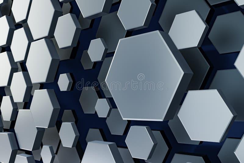 черно-белая предпосылка шестиугольника иллюстрация штока