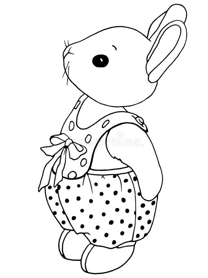 Черно-белая расцветка Девушка зайчика игрушечного Игрушка Нарисовано вручную черный иллюстрация вектора