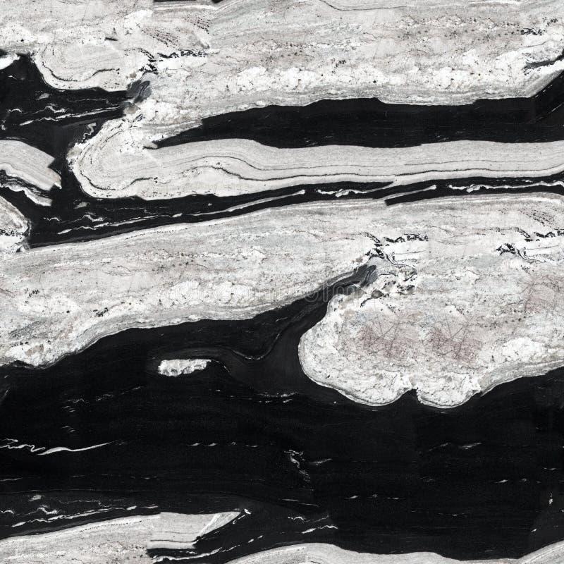 Черно-белая текстура гранита Безшовная квадратная предпосылка, до стоковые изображения rf