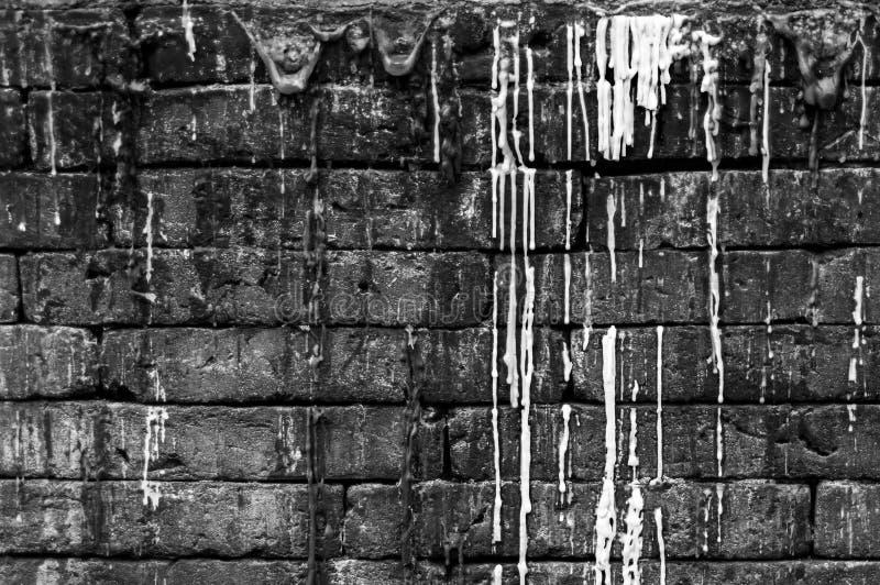 Черно-белая фотография: Текстура древней стены/старая кирпичная стена стоковое изображение rf