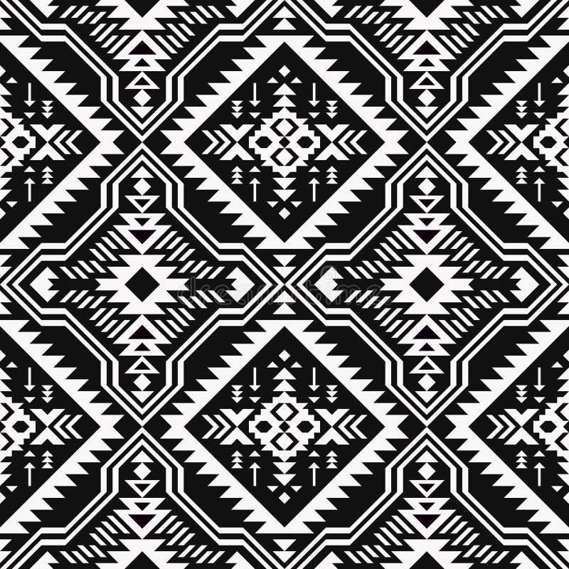 Черно-белая этническая геометрическая безшовная картина иллюстрация вектора