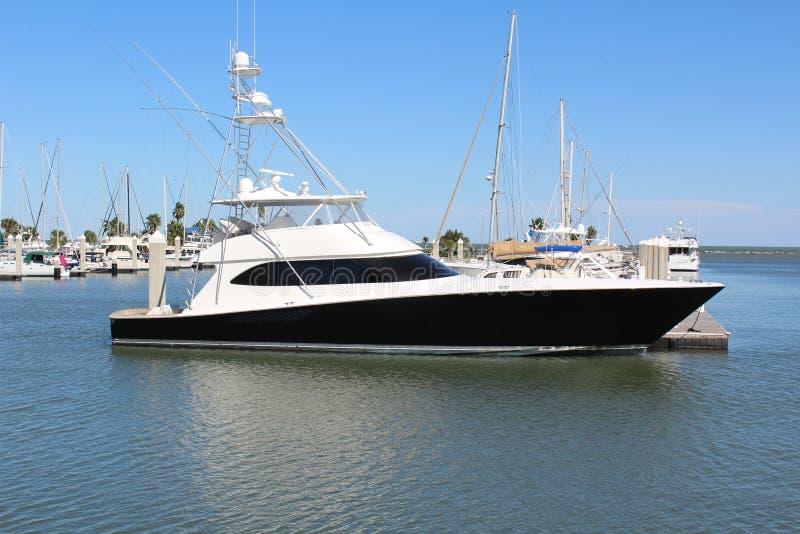 Черно-белая яхта Корпус Кристи Техас стоковая фотография rf