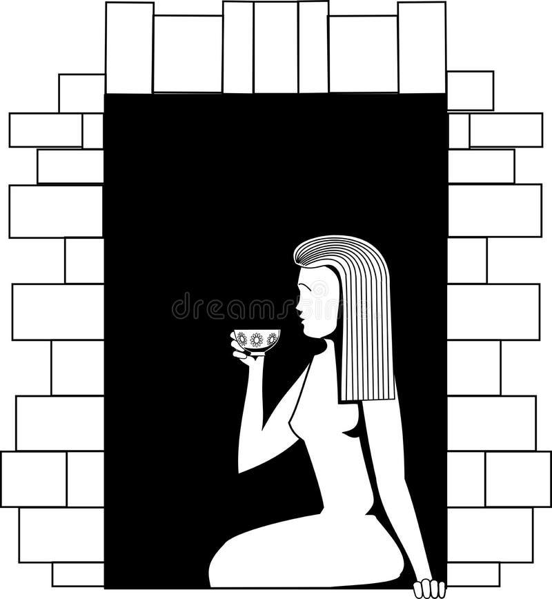 Черно-белое изображение вектора девушка сидя на окне и выпивая от чашки иллюстрация вектора