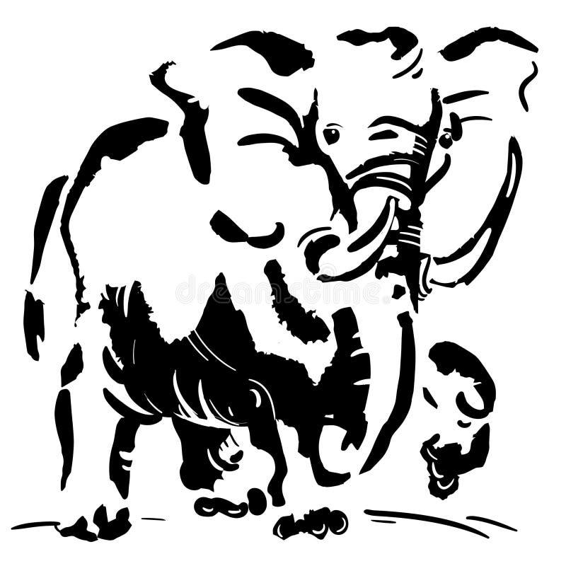 Черно-белое изображение слона стоковые изображения