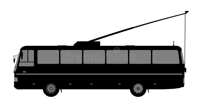 Черно-белое изображение троллейбуса иллюстрация штока