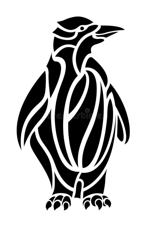 Черно-белое искусство татуировки с пингвином мультфильма иллюстрация штока
