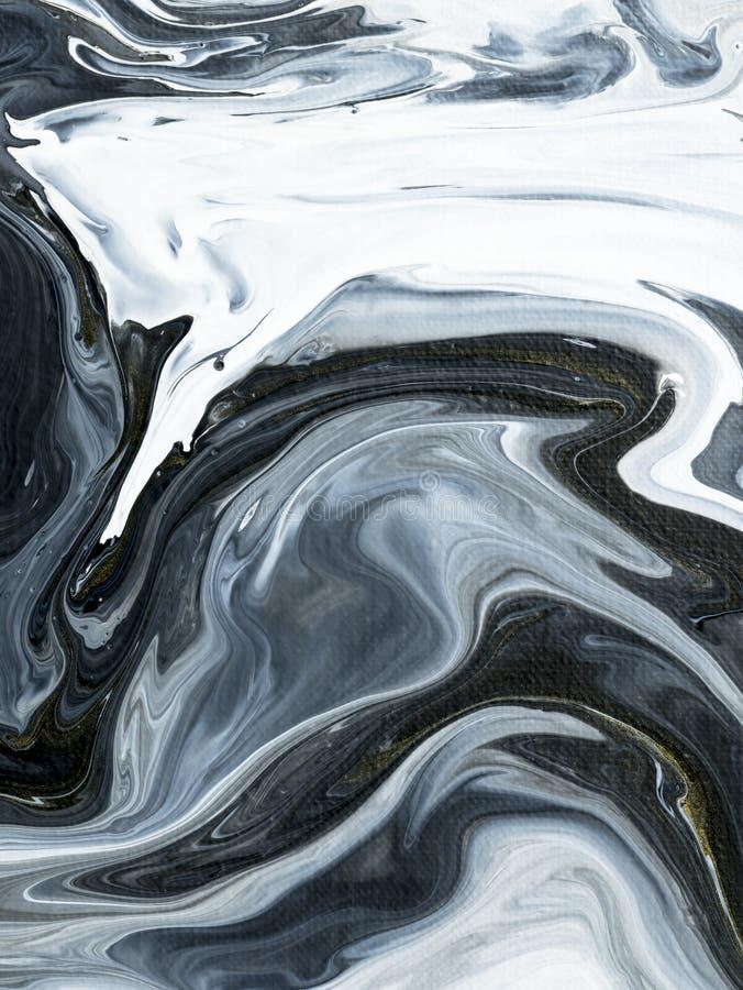 Черно-белой мраморной абстрактной картина покрашенная рукой безшовная иллюстрация вектора