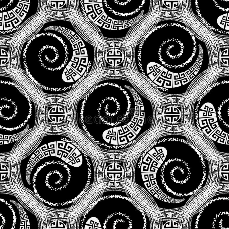 Черно-белые геометрические круги, закручивают в спираль картина греческого вектора безшовная Предпосылка Monochrome конспекта сов бесплатная иллюстрация
