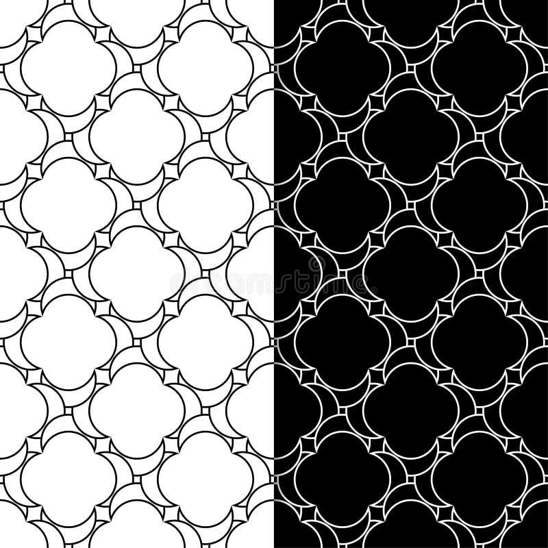 Черно-белые геометрические орнаменты делает по образцу безшовный комплект иллюстрация штока