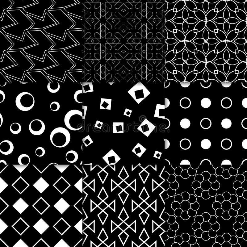 Черно-белые геометрические орнаменты собрание делает по образцу безшовное бесплатная иллюстрация