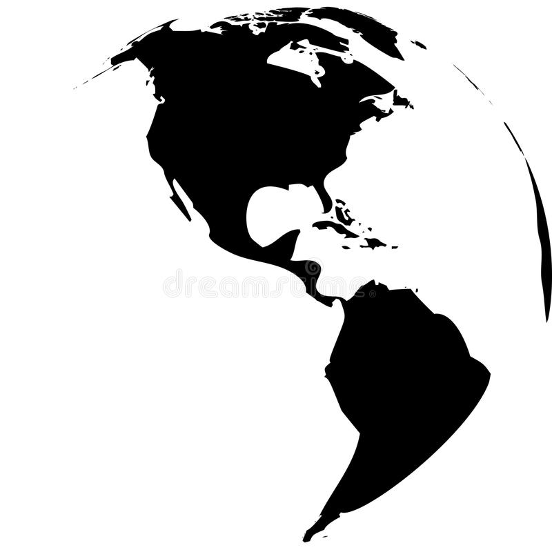 Черно-белые глобусы земли вектора иллюстрация штока