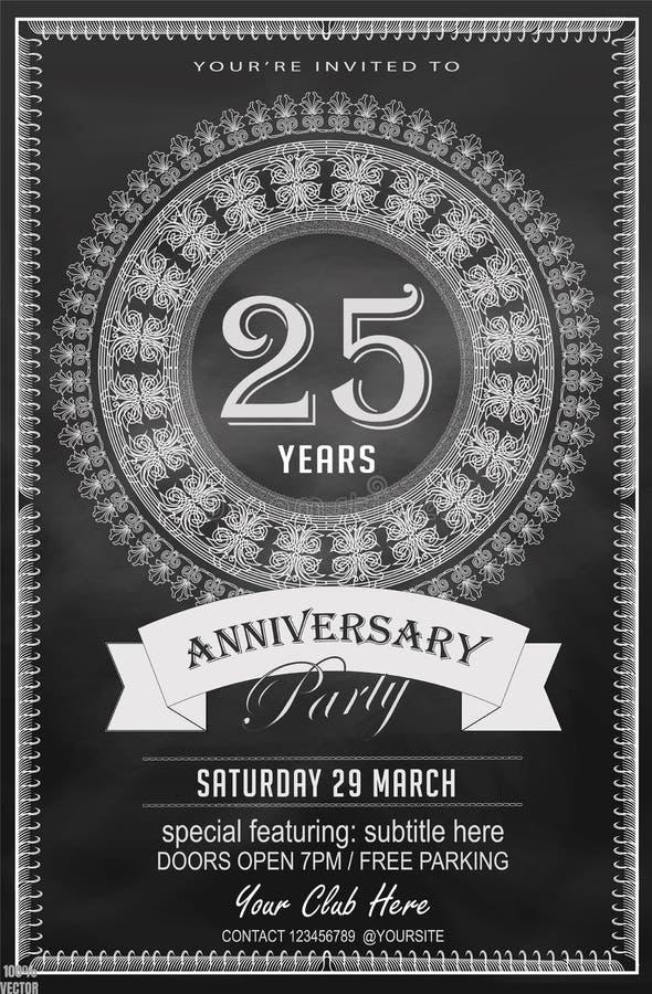 Черно-белые 25 годовщины лет шаблона дизайна бесплатная иллюстрация