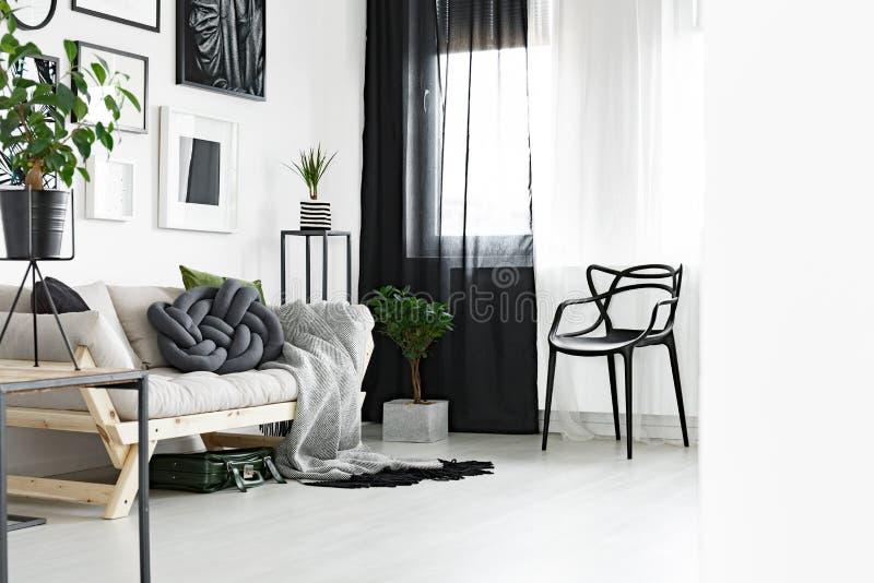 Черно-белые занавесы стоковое фото rf