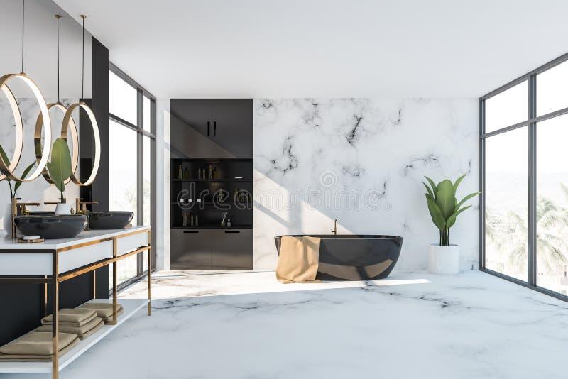 Черно-белые интерьер, ушат и раковина bathroom бесплатная иллюстрация