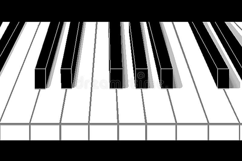 Черно-белые ключи рояля с тенями в перспективе иллюстрация вектора