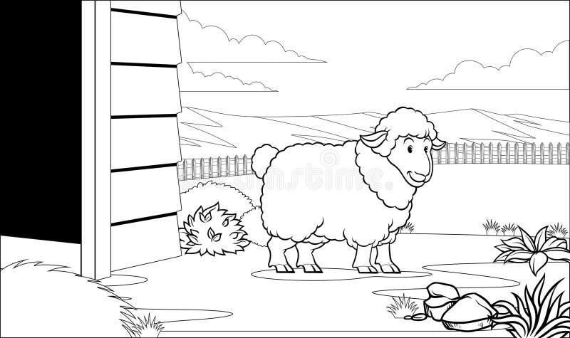 Черно-белые крася овцы страницы в амбаре иллюстрация штока