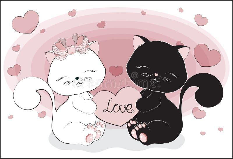 Черно-белые пары котов с сердцем бесплатная иллюстрация