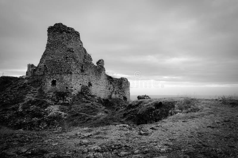 Черно-белые руины замка стоковые фото