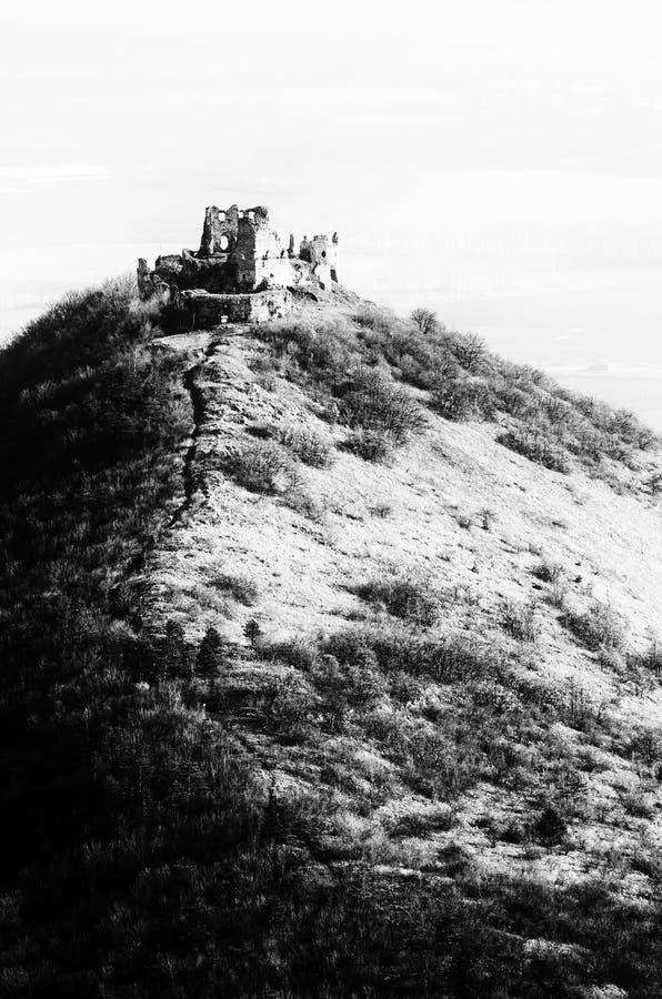 Черно-белые руины замка Turna стоковые фото