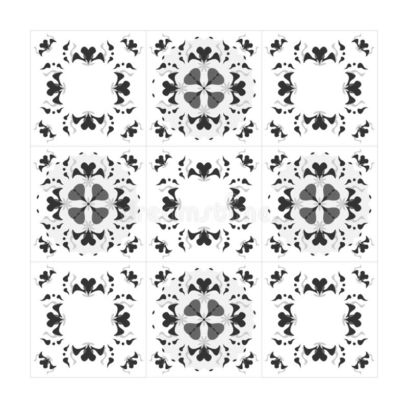 Черно-белые черно-серые сердца Бесшовный Декоративный элемент Вектор стоковые изображения