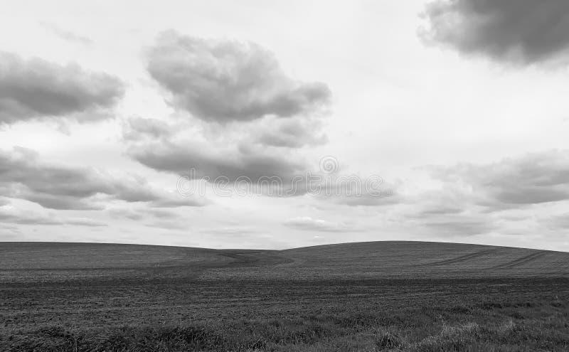 Черно-белые холмы фермы на горизонте в Айове стоковое изображение rf