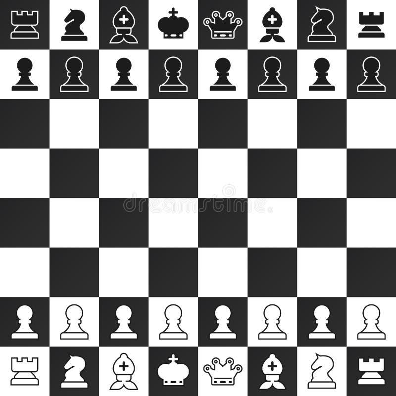 Черно-белые шахматные фигуры на доске иллюстрация штока