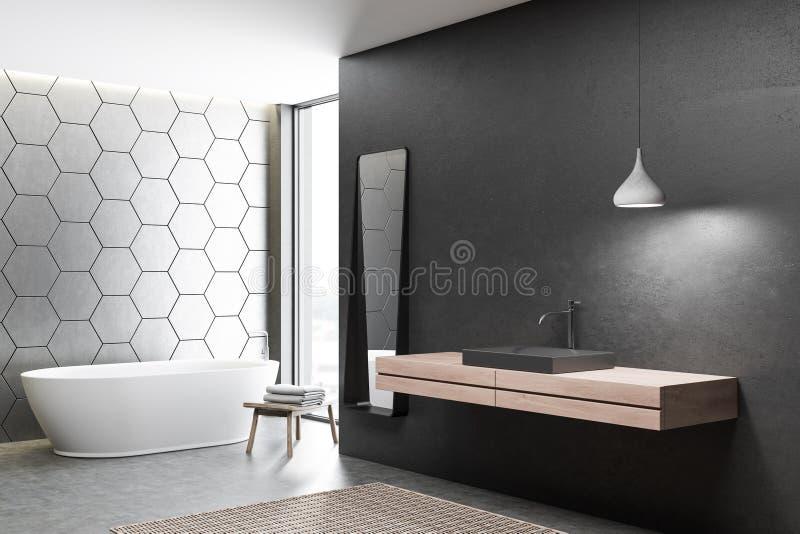 Черно-белые bathroom, ушат и раковина иллюстрация вектора