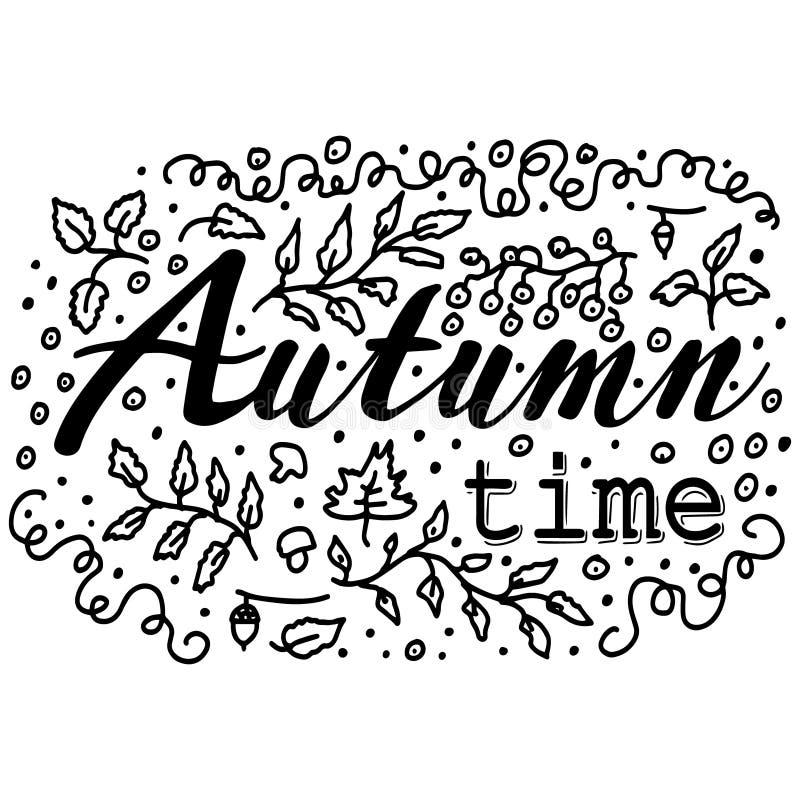 Черно-белые doodles, эскиз от контуров различных листьев и ягоды рябины Литерность: Время осени Нарисованный вручную бесплатная иллюстрация