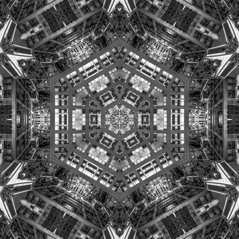 Черно-белый взгляд улиц города в Сан-Диего иллюстрация вектора
