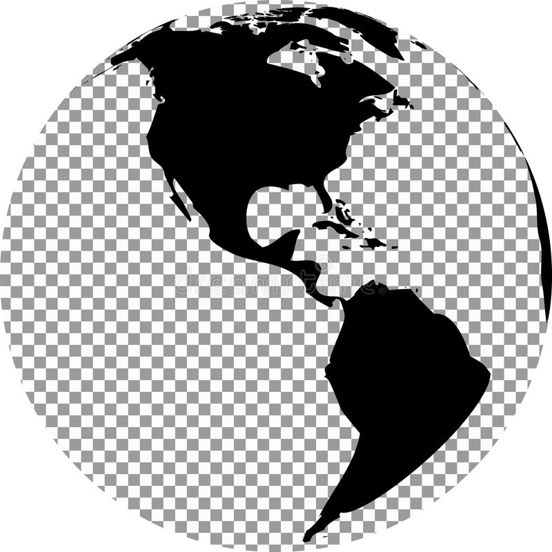 Черно-белый глобус с прозрачной предпосылкой иллюстрация штока