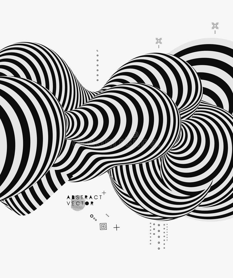 Черно-белый дизайн Картина с обманом зрения Абстрактная геометрическая предпосылка 3d также вектор иллюстрации притяжки corel иллюстрация вектора