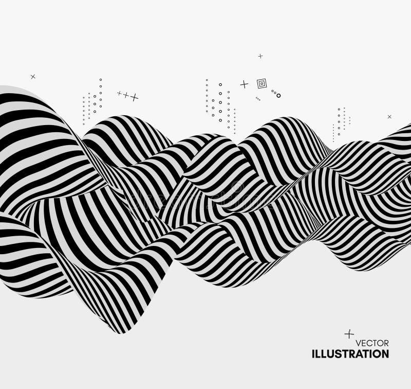 Черно-белый дизайн Картина с обманом зрения Абстрактная геометрическая предпосылка 3d также вектор иллюстрации притяжки corel бесплатная иллюстрация