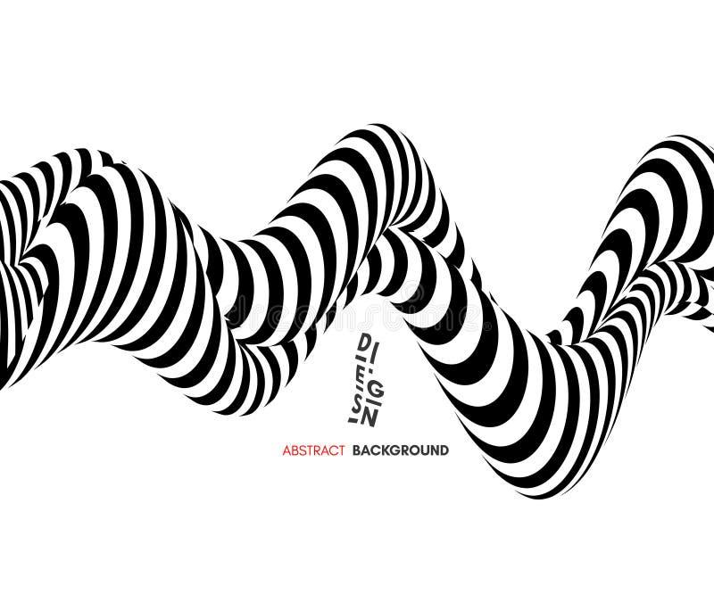Черно-белый дизайн Картина с обманом зрения Абстрактная геометрическая предпосылка 3d иллюстрация штока