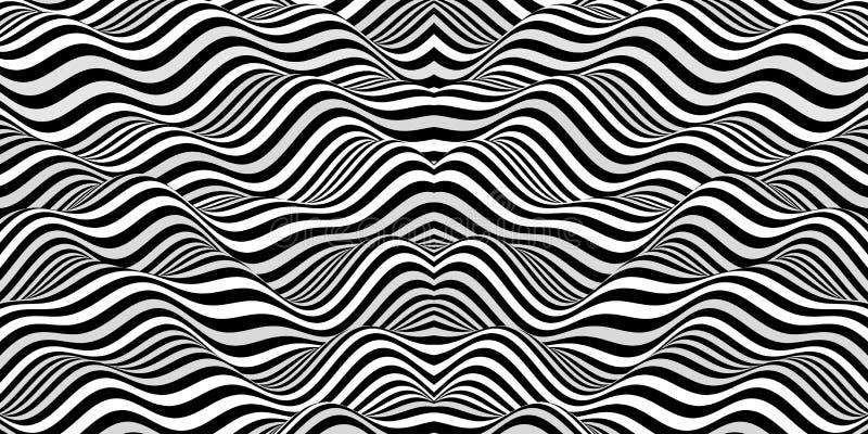 Черно-белый дизайн Картина с обманом зрения Абстрактная геометрическая предпосылка 3d бесплатная иллюстрация