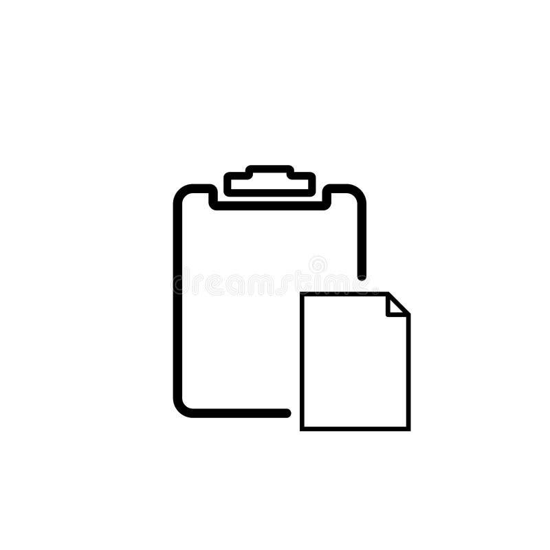 Черно-белый значок доски сзажимом для бумаги бесплатная иллюстрация