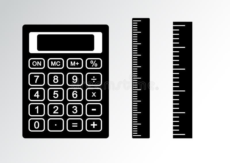 Черно-белый набор - калькулятор и правитель r иллюстрация вектора