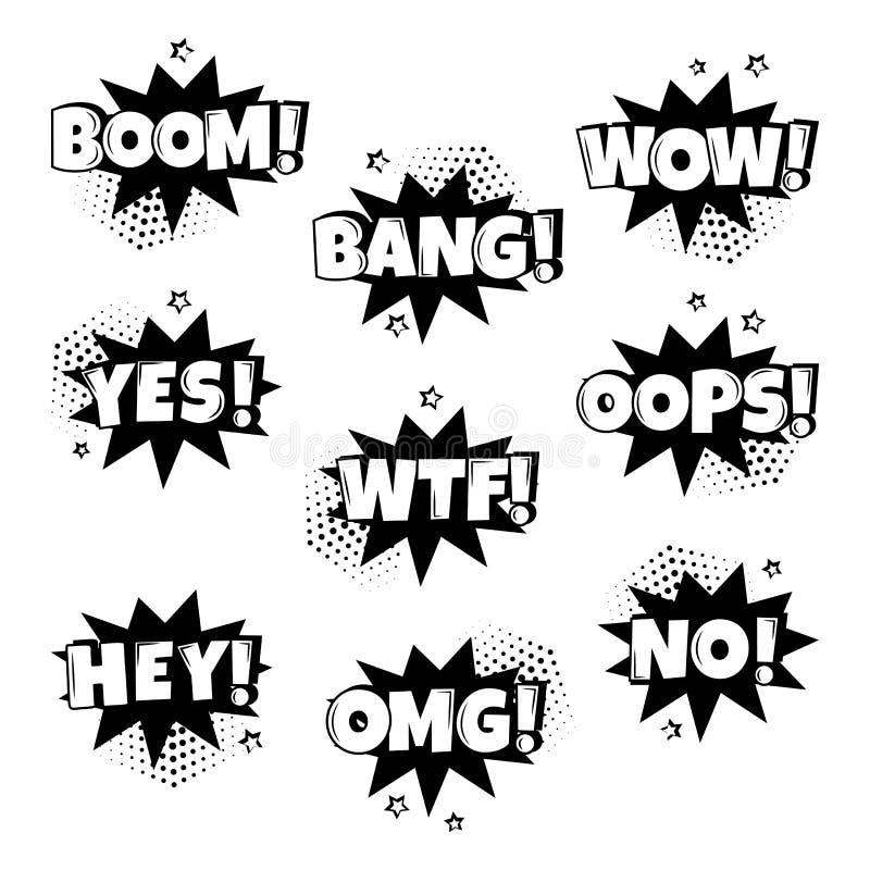 Черно-белый набор шуточных пузырей речи с различными эмоциями r бесплатная иллюстрация