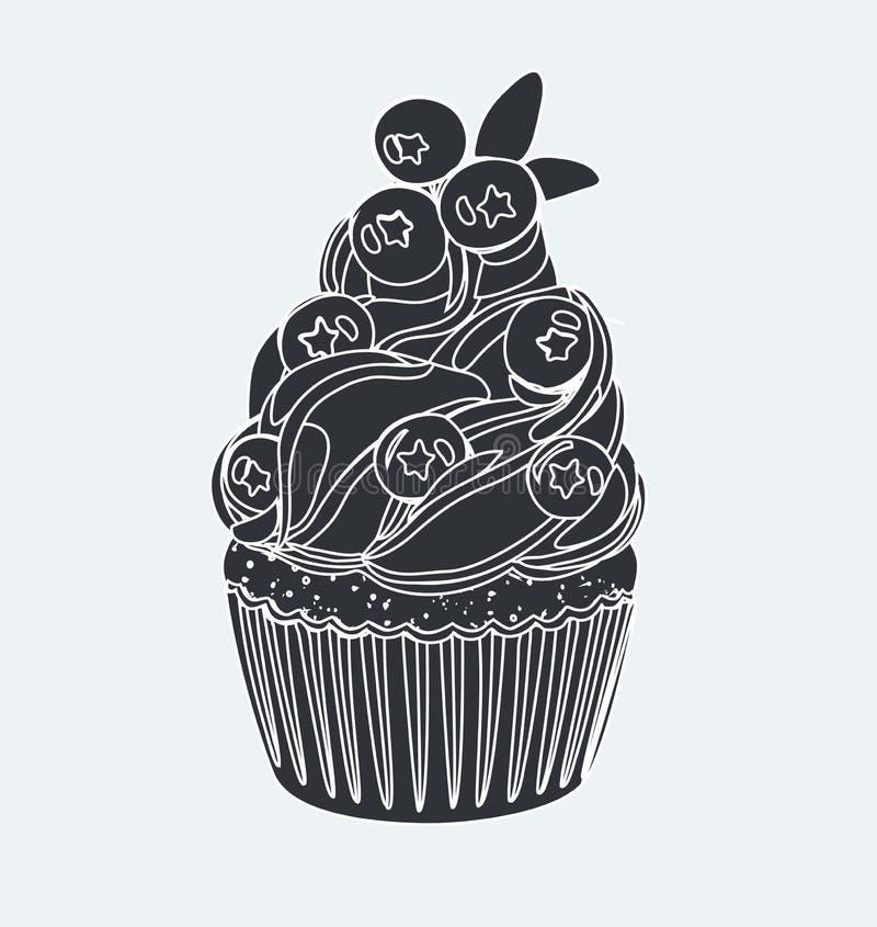 Черно-белый плакат оформления doodle с пирожным иллюстрация вектора