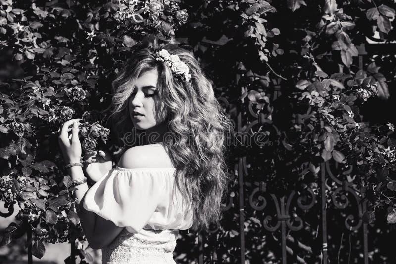 Черно-белый портрет молодой красивой курчавой девушки близко выковал решетку с розами стоковые изображения rf