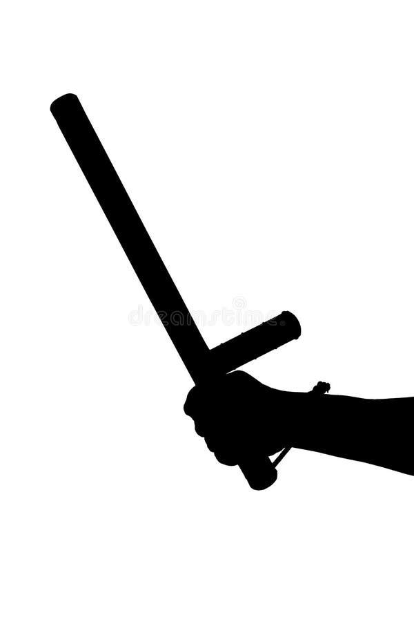 Черно-белый силуэт голой руки с резиновым жезлом полиции изолированным на белой предпосылке стоковое изображение rf