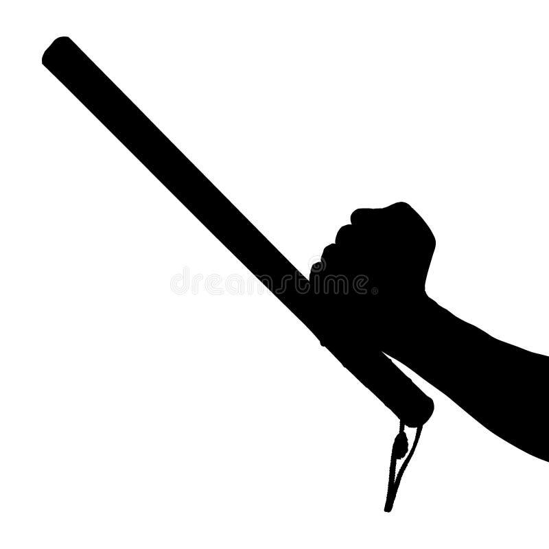 Черно-белый силуэт голой руки с резиновым жезлом полиции изолированным на белой предпосылке стоковые изображения rf