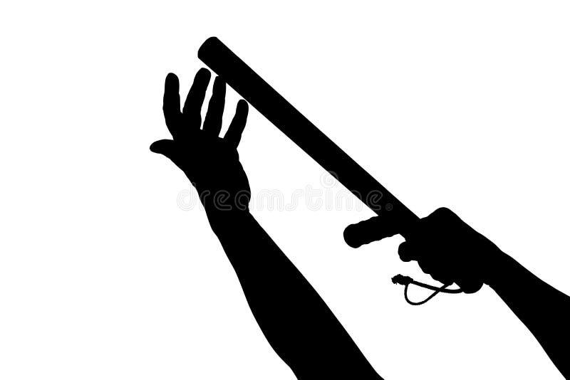 Черно-белый силуэт 2 оружий с резиновым жезлом полиции изолированным на белой предпосылке стоковые изображения