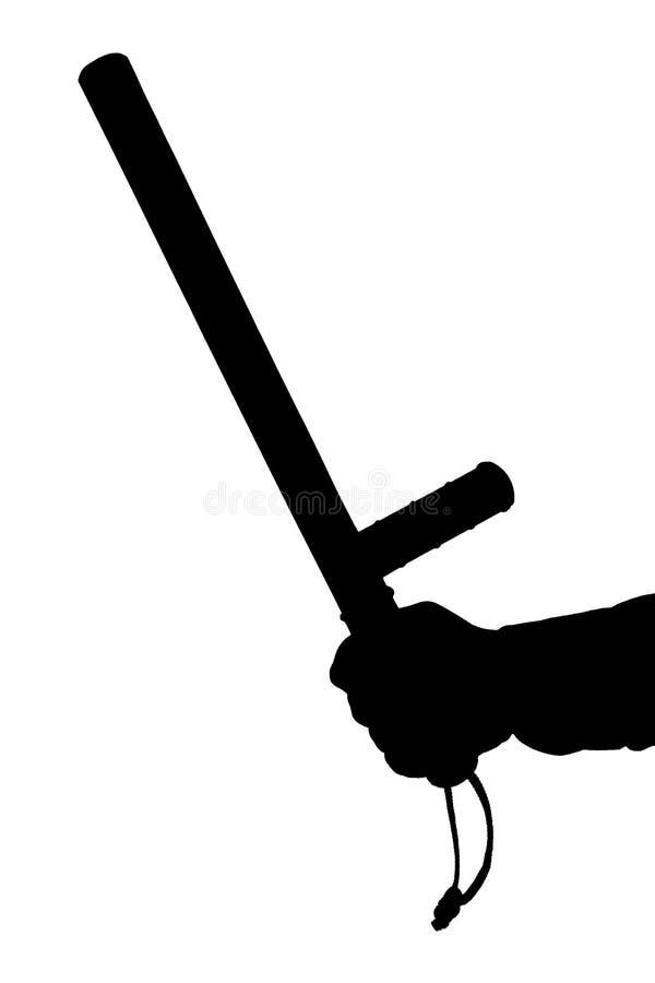 Черно-белый силуэт руки в рубашке с резиновым жезлом полиции изолированным на белой предпосылке стоковое фото rf