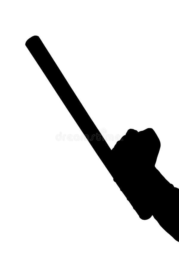 Черно-белый силуэт руки в рубашке с резиновым жезлом полиции изолированным на белой предпосылке стоковые изображения