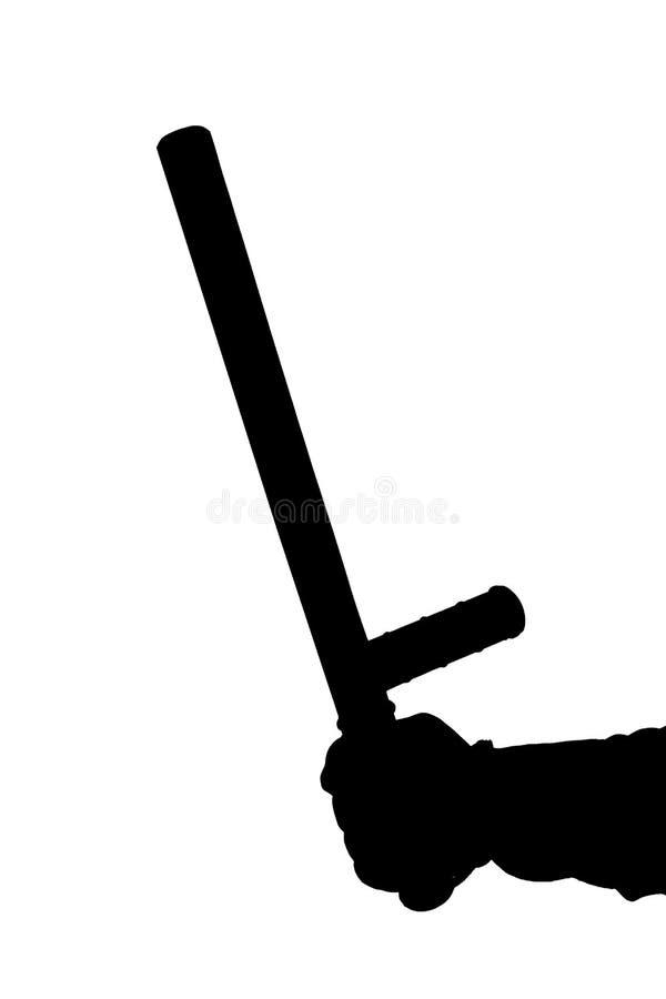 Черно-белый силуэт руки в рубашке с резиновым жезлом полиции изолированным на белой предпосылке стоковое изображение rf