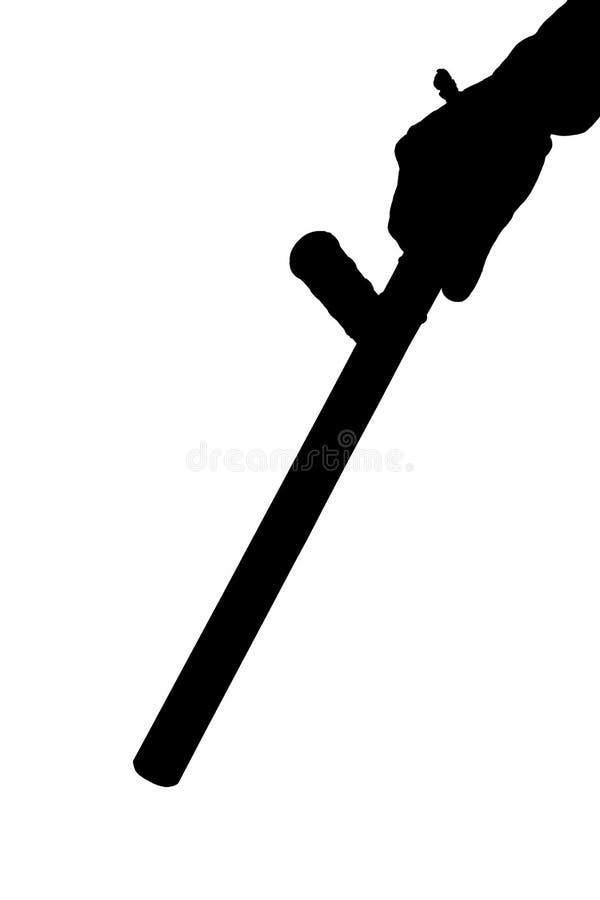 Черно-белый силуэт руки в рубашке с резиновым жезлом полиции изолированным на белой предпосылке стоковые фотографии rf