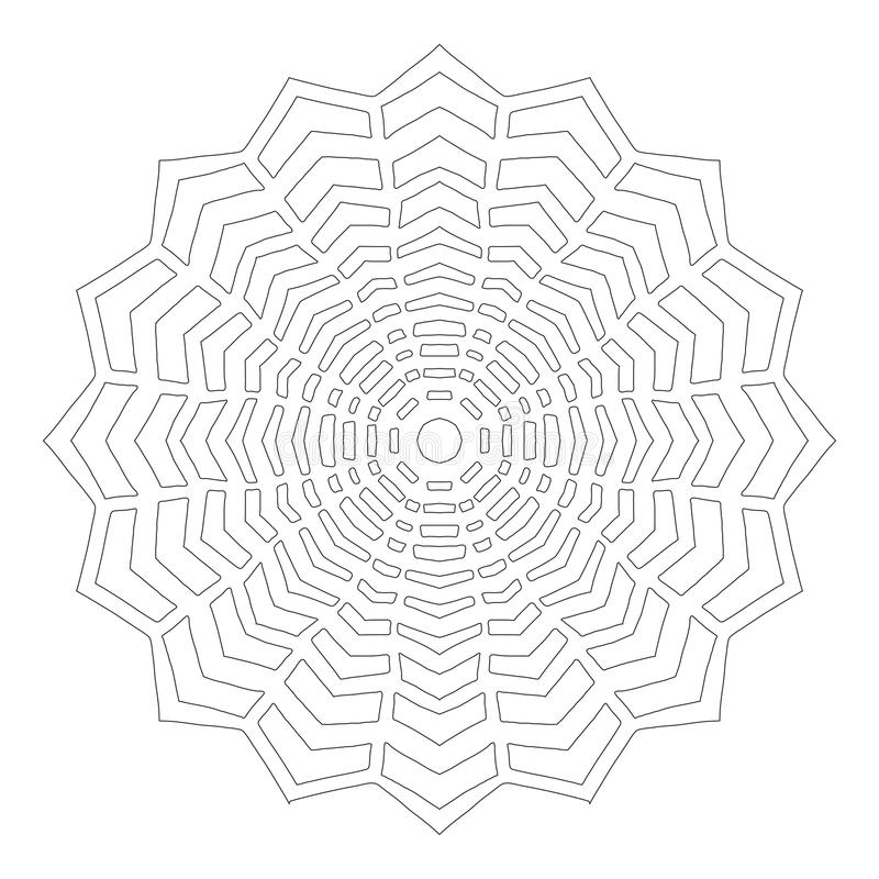 Черно-белый силуэт снежинок Шнурок, круглый орнамент и декоративная граница иллюстрация штока